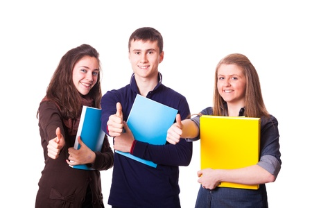 Teenage Students with Thumbs Up photo