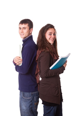 college boy: Couple of Teenage Students on White