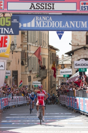 ASSISI, PERUGIA, ITALY - MAY 15: Joaquin Rodriguez, Team Katusha, wins the final sprint of the 10th stage of 2012 Giro d'Italia on May 15, 2012 in Assisi, Perugia, Italy Stock Photo - 13685629