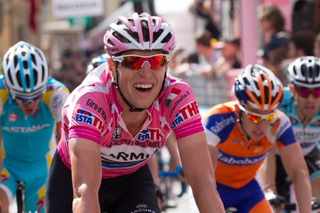 ASSISI, PERUGIA, ITALY - MAY 15: Ryder Hesjedal, Team Garmin Barracuda, leader of general ranking of the competition, the at the end of the 10th stage of 2012 Giro d