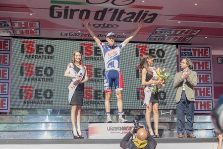 SESTRI LEVANTE, GENOVA, ITALY - MAY 17: Lars Bak, Team Lotto Belisol, celebrating his victory on 12th stage of 2012 Giro d'Italia on May 17, 2012 in Sestri Levante, Genova, Italy Stock Photo - 13685665