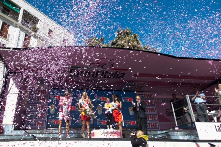 joaquin: SESTRI LEVANTE, GENOVA, ITALY - MAY 17: Joaquin Rodriguez, Team Katusha, celebrating the first position on the general ranking after the 12th stage of 2012 Giro dItalia on May 17, 2012 in Sestri Levante, Genova, Italy