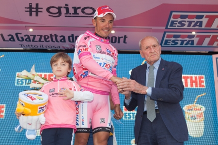 joaquin: MONTECATINI TERME, ITALY - MAY 16: Joaquin Rodriguez, Team Katusha, celebrating the first position on the general ranking after the 11th stage of 2012 Giro dItalia on May 16, 2012 in Montecatini Terme, Italy