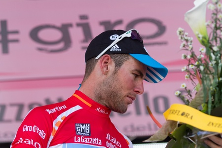 d mark: MONTECATINI TERME, ITALY - MAY 16: Mark Cavendish, Team Sky, Leader Red Jersey Ranking after  the 11th stage of 2012 Giro d