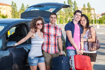 Four Friends Ready to Leave For Vacation photo