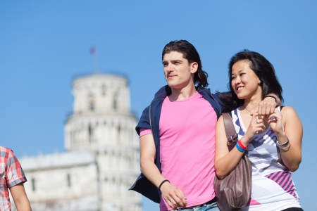 Young Couple of Tourists in Pisa photo