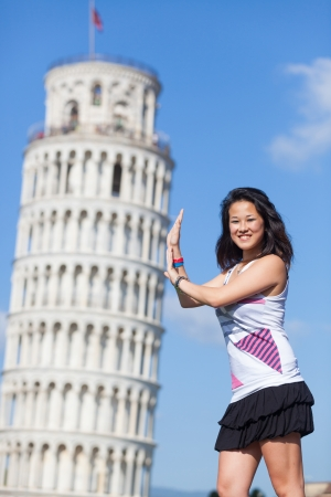 tower of pisa: Chinese Girl with Leaning Tower of Pisa