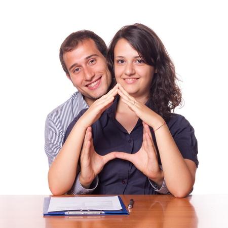 home loans: Felice Giovane Coppia Comprare Casa