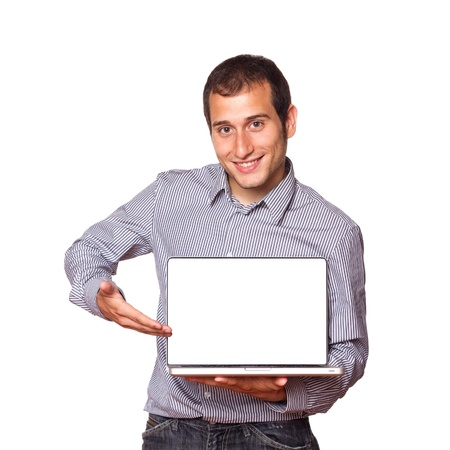 laptop hands: Young Man Holding a Computer with Blank Screen