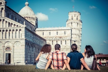 tower of pisa: Four Friends on Vacation Visiting Pisa