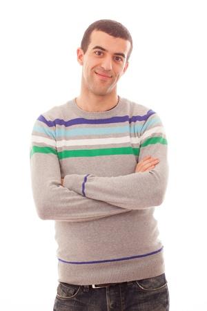 belleza masculina: Retrato del hombre joven en el fondo blanco Foto de archivo