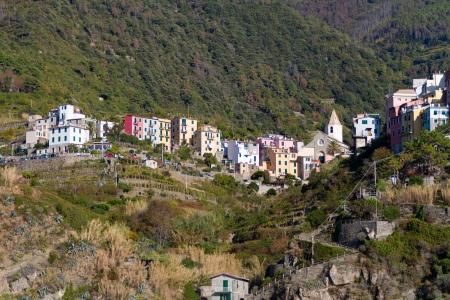 italian village: Corniglia Village, Cinque Terre, Italy Stock Photo