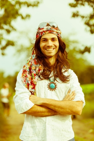 60s fashion: Hippie Portrait Stock Photo