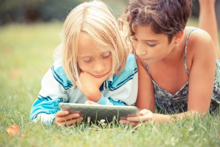 Couple of Children with Tablet PC Stock Photo - 15096083