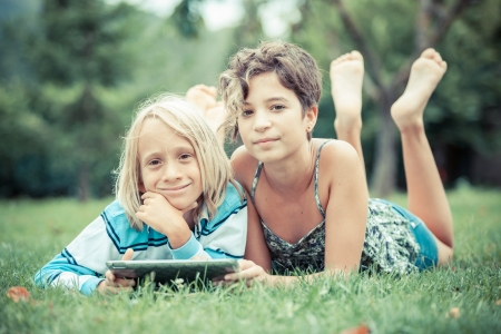 Couple of Children with Tablet PC Stock Photo - 15096140