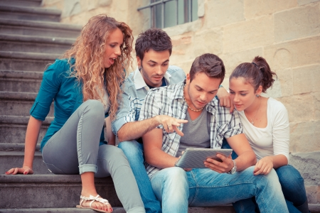 male friends: Group of Friends with Tablet PC