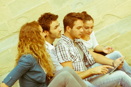 highschool students: Group of Friends with Tablet PC