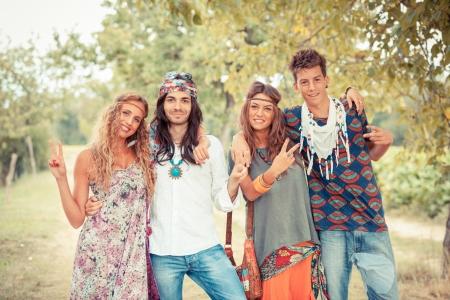 hippy: Hippie Group Outside Stock Photo