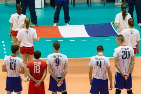 anthem: FLORENCE, ITALY - MAY 19: Listening the National Anthem before the World League match between Italy and France at Mandela Forum, Florence, Italy on May 19 2012
