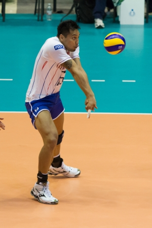 qualify: FLORENCE, ITALY - MAY 19: French player Samuel Tuia during a World League match between Italy and France at Mandela Forum, Florence, Italy on May 19 2012 Editorial