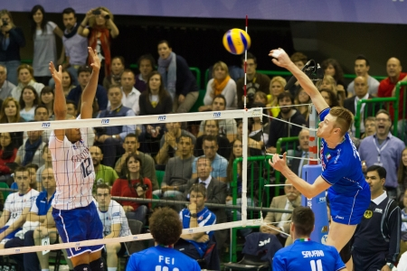 FLORENCE, ITALY - MAY 19: Italian player Ivan Zaytsev during a World League match between Italy and France at Mandela Forum, Florence, Italy on May 19 2012