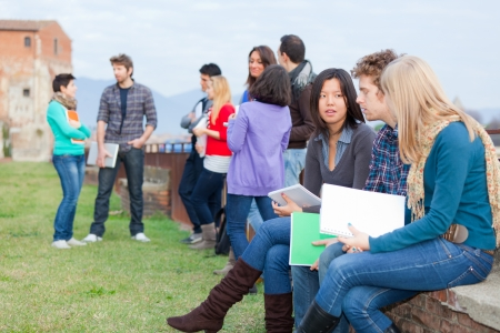 young people fun: Group of Multiracial College Students Stock Photo