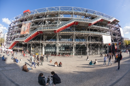 georges: PARIS, FRANCE - OCTOBER 4: Centre Georges Pompidou on October 4, 2012 in Paris, France. Designed in style of high-tech architecture, it houses library, National Art Modern Museum and IRCAM.