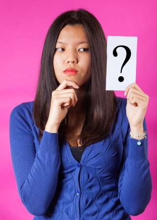 doubtful: Doubtful Chinese Woman holding Question Mark