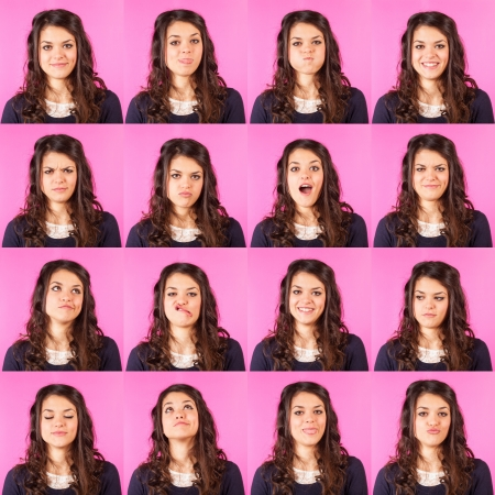 scared girl: Young Woman on Fuchsia, Multiple Expressions