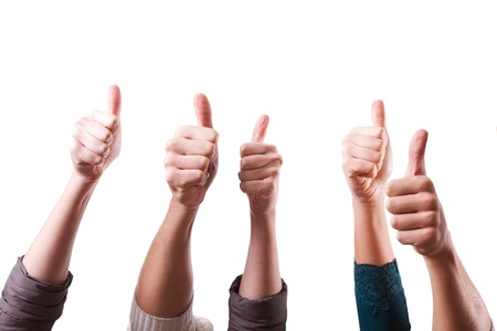 up: Thumbs Up on White Background