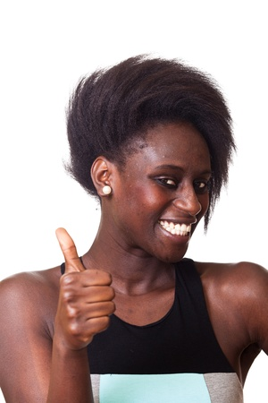 thumbs up woman: Black Woman with Thumbs Up