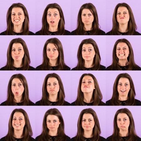 multiple images: Young Woman Portrait on Violet, Multiple Images