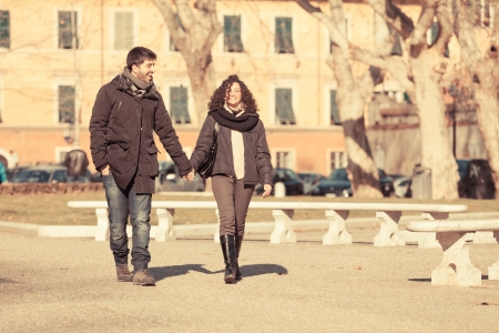romatic: Romatic Young Couple Walking in the City