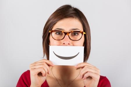smile icon: Pretty Young Woman with Smiley Emoticon