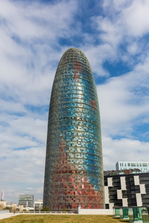 'phallic symbol': Agbar Tower in Barcelona on a Sunny Day