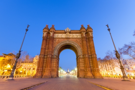 Arc de Triomf in Barcelona at Night Stock Photo