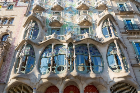 BARCELONA, SPAIN - FEBRUARY 27: Casa Batllò on February 27, 2013 in Barcelona, Spain. This famous building was designed by Antoni Gaudi
