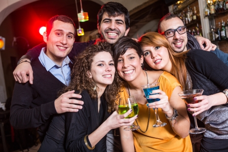 toasting wine: Group of Friends in a Night Club
