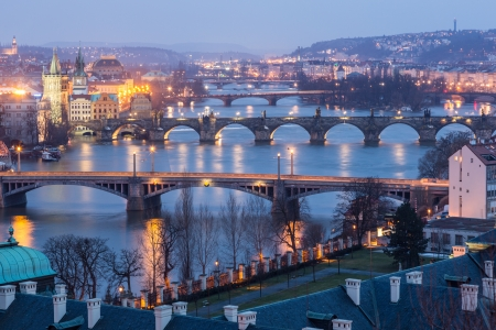 Prague at Twilight, view of Bridges on Vltava