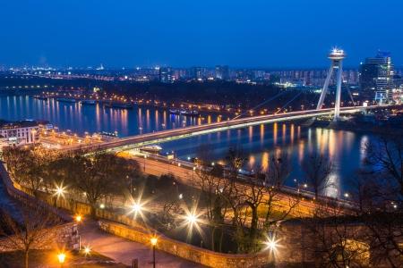 viewpoints: New Futuristic Bridge in Bratislava at Twilight