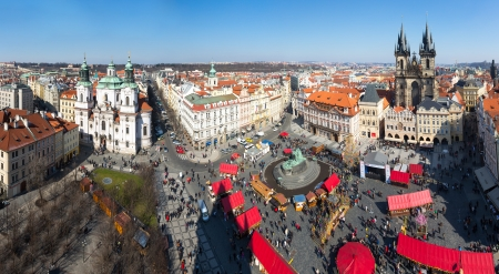 praha: Old Square in Prague from Town Hall Tower