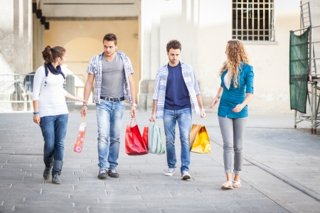 Group of Friends with Shopping Bags photo