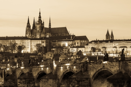 Charles Bridge and Castle in Prague at Dusk photo