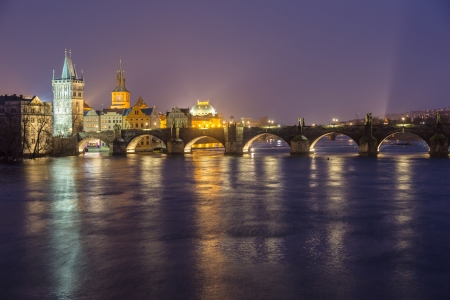 Charles Bridge in Prague at Night photo