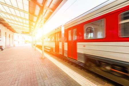 railroad station platform: Train at Station in Vilnius Stock Photo