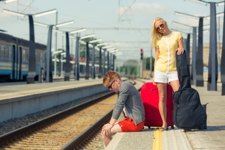 Young Couple Waiting at Train Station Stock Photo - 20680406