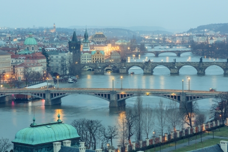 praha: Prague at Twilight, view of Bridges on Vltava