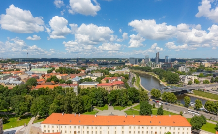 Aerial View of Vilnius with Financial District