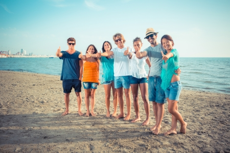 Multiethnic Group of Friends at Beach photo