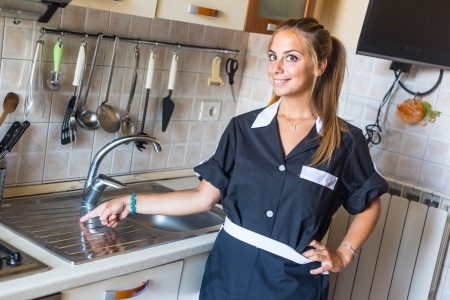 Happy Housemaid with Clean Kitchen Stock Photo